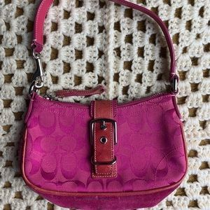 Vintage Coach mini bag in pink suede and canvas